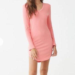 Pink Ribbed V-neck dress